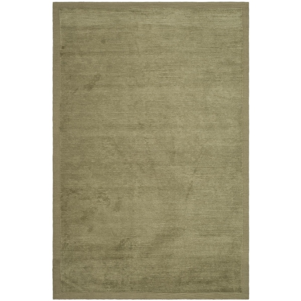 Safavieh Hand-knotted Tibetan Striped Olive Wool/ Silk Rug - 10' x 14'