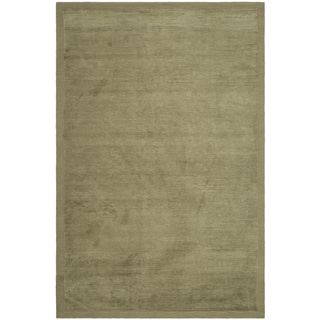 Safavieh Hand-knotted Tibetan Striped Olive Wool/ Silk Rug (9' x 12')