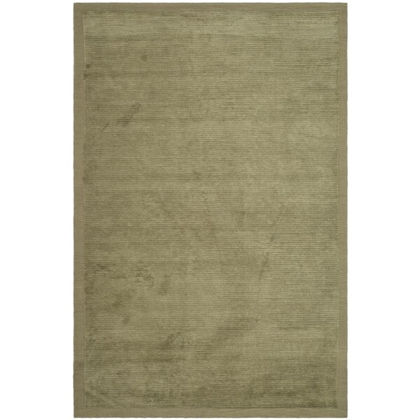 Safavieh Hand-knotted Tibetan Striped Olive Wool/ Silk Rug - 9' x 12'