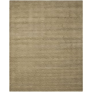 Safavieh Hand-knotted Tibetan Greek Key Olive Wool Rug (8' x 10')