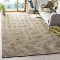 Safavieh Hand-knotted Tibetan Greek Key Olive Wool Rug - 8' x 10'