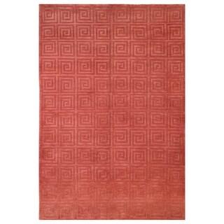 Safavieh Hand-knotted Tibetan Greek Key Rust Wool Rug (5' x 7'6)