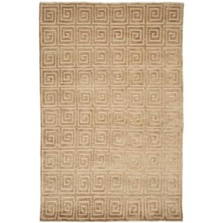 Safavieh Hand-knotted Tibetan Greek Key Beige/ Brown Wool Rug (5' x 7'6)