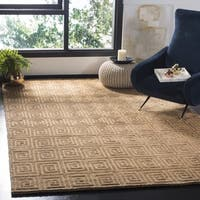 Safavieh Hand-knotted Tibetan Greek Key Beige/ Brown Wool Rug - 5' x 7'6