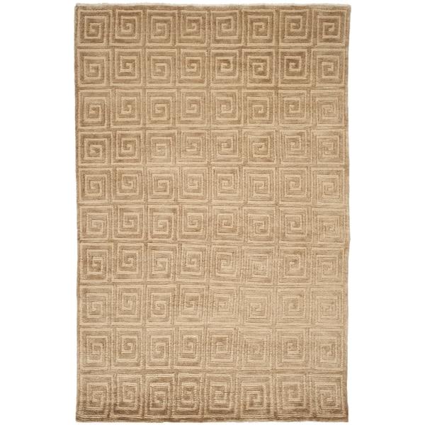 Safavieh Hand-knotted Tibetan Greek Key Beige/ Brown Wool Rug (6' x 9')
