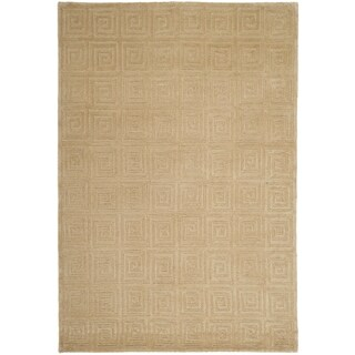 Safavieh Hand-knotted Tibetan Greek Key Cream Wool Rug (8' x 10')
