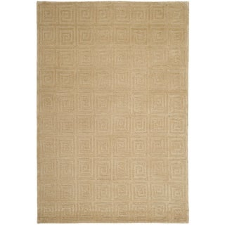 Safavieh Hand-knotted Tibetan Greek Key Cream Wool Rug (9' x 12')