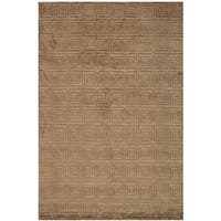 Safavieh Hand-knotted Tibetan Greek Key Deep Bronze Wool Rug - 6' x 9'