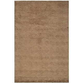 Safavieh Hand-knotted Tibetan Greek Key Deep Bronze Wool Rug (8' x 10')
