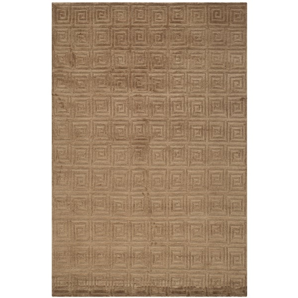 Safavieh Hand-knotted Tibetan Greek Key Deep Bronze Wool Rug - 9' x 12'