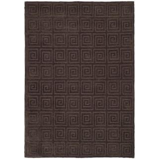 Safavieh Hand-knotted Tibetan Greek Key Chocolate Wool Rug (6' x 9')