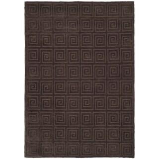 Safavieh Hand-knotted Tibetan Greek Key Chocolate Wool Rug (9' x 12')