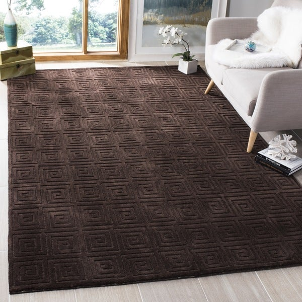 Safavieh Hand-knotted Tibetan Greek Key Chocolate Wool Rug - 9' x 12'