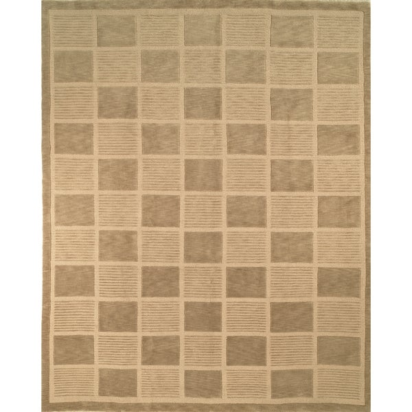 Safavieh Hand-knotted Tibetan Geometric Sage/ Beige Wool Rug - 6' x 9'
