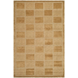 Safavieh Hand-knotted Tibetan Geometric Apricot/ Beige Wool Rug (9' x 12')