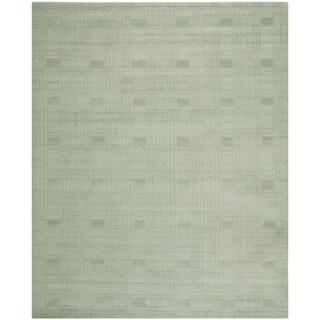 Safavieh Hand-knotted Tibetan Geometric Celadon Wool Rug (8' x 10')