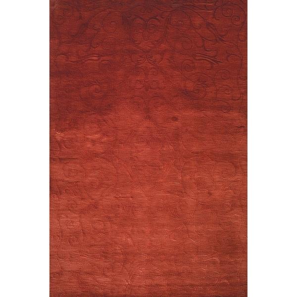 Safavieh Hand-knotted Tibetan Iron Scrolls Raspberry Wool/ Silk Rug - 8' x 10'