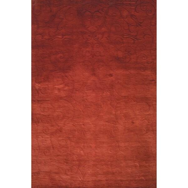 Safavieh Hand-knotted Tibetan Iron Scrolls Raspberry Wool/ Silk Rug - 9' x 12'