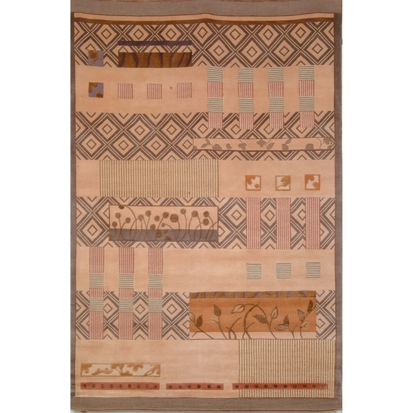 Safavieh Hand-knotted Tibetan Contemporary Beige Wool/ Silk Area Rug - 10' x 14'