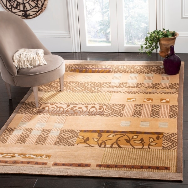 Safavieh Hand-knotted Tibetan Contemporary Beige Wool/ Silk Area Rug - 10' x 14'