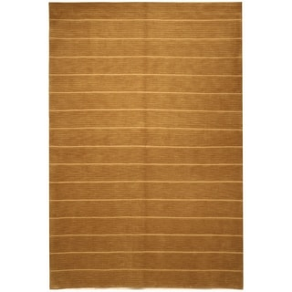 Safavieh Hand-knotted Tibetan Striped Beige Wool/ Silk Rug (9' x 12')