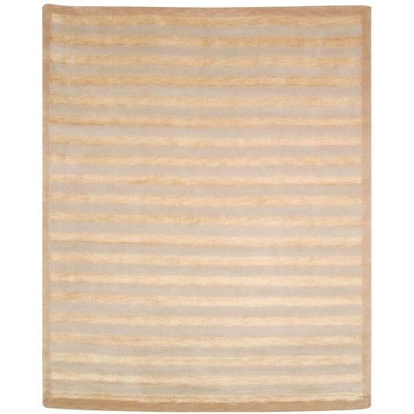 Safavieh Hand-knotted Tibetan Striped Ivory Wool/ Silk Area Rug - 8' x 10'
