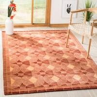 Safavieh Hand-knotted Tibetan Geometric Rust Wool Rug - 10' x 14'