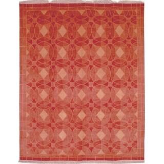 Safavieh Hand-knotted Tibetan Geometric Rust Wool Rug (6' x 9')