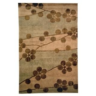 Safavieh Hand-knotted Tibetan Floral Beige Wool/ Silk Rug (5' x 7'6)
