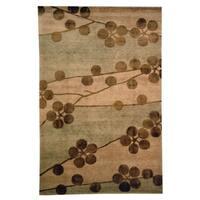 Safavieh Hand-knotted Tibetan Floral Beige Wool/ Silk Rug - 8' x 10'