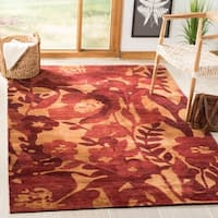 """Safavieh Hand-knotted Tibetan Floral Red Wool Rug - 5' x 7'6"""""""
