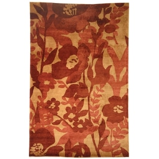 Safavieh Hand-knotted Tibetan Floral Red Wool Rug (6' x 9')