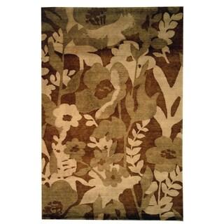 Safavieh Hand-knotted Tibetan Floral Brown Wool Rug (6' x 9')