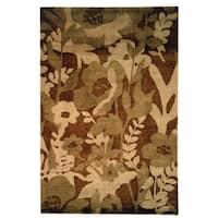 Safavieh Hand-knotted Tibetan Floral Brown Wool Rug - 6' x 9'