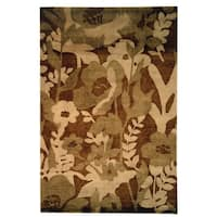 Safavieh Hand-knotted Tibetan Floral Brown Wool Area Rug - 9' x 12'