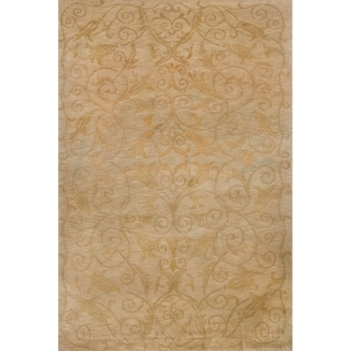 Safavieh Hand-knotted Tibetan Iron Scrolls Green/ Gold Wool/ Silk Rug (8' x 10')