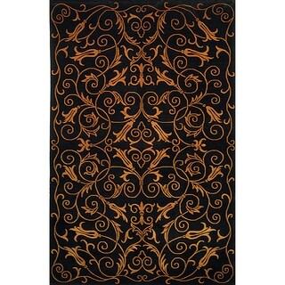 Safavieh Hand-knotted Tibetan Iron Scrolls Black Wool/ Silk Rug (6' x 9')