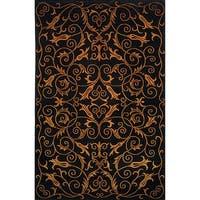 Safavieh Hand-knotted Tibetan Iron Scrolls Black Wool/ Silk Rug - 6' x 9'