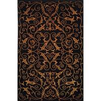 Safavieh Hand-knotted Tibetan Iron Scrolls Black Wool/ Silk Rug - 8' x 10'
