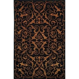 Safavieh Hand-knotted Tibetan Iron Scrolls Black Wool/ Silk Rug (9' x 12')