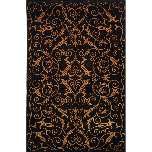 Safavieh Hand-knotted Tibetan Iron Scrolls Black Wool/ Silk Rug - 9' x 12'