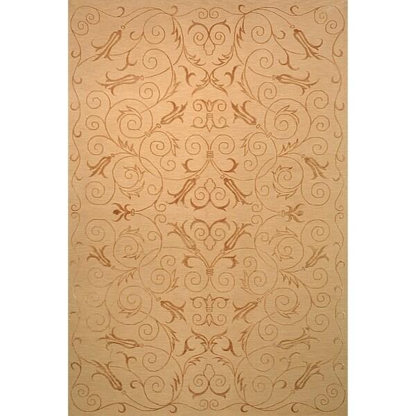 Safavieh Hand-knotted Tibetan Iron Scrolls Light Gold Wool/ Silk Rug - 5' x 7'6