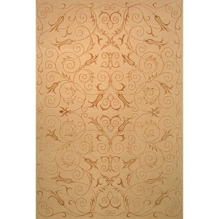 Safavieh Hand-knotted Tibetan Iron Scrolls Light Gold Wool/ Silk Rug (8' x 10')