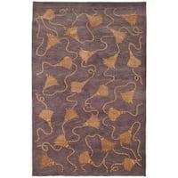 Safavieh Hand-knotted Tibetan Tassels Plum/ Gold Wool/ Silk Rug - 10' x 14'