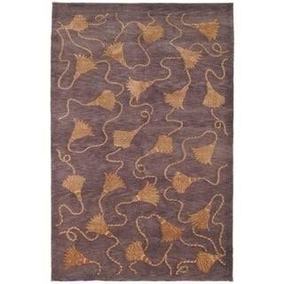 Safavieh Hand-knotted Tibetan Tassels Plum/ Gold Wool/ Silk Rug (8' x 10')
