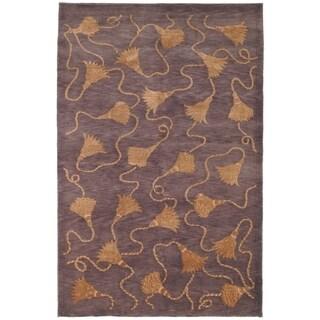 Safavieh Hand-knotted Tibetan Tassels Plum/ Gold Wool/ Silk Rug (9' x 12')