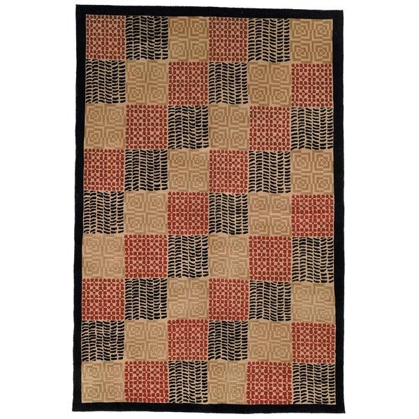 Safavieh Hand-knotted Tibetan Geometric Contemporary Black/ Rust Wool/ Silk Rug - 10' x 14'