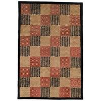 "Safavieh Hand-knotted Tibetan Geometric Contemporary Black/ Rust Wool/ Silk Rug - 5' x 7'6"""