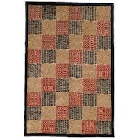 Safavieh Hand-knotted Tibetan Geometric Contemporary Black/ Rust Wool/ Silk Rug - 6' x 9'