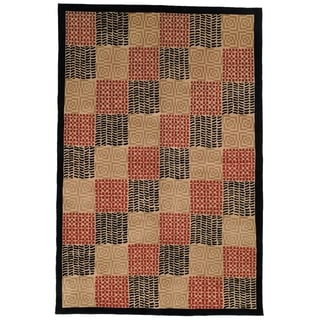 Safavieh Hand-knotted Tibetan Geometric Contemporary Black/ Rust Wool/ Silk Rug (9' x 12')
